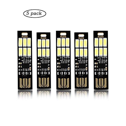Xcellent Global 5 Stk. USB Licht Schlüsselanhänger Super Hell 6 LED Touch Dimmer Stufenlos Einstellbar Tragbar für Laptop-Tastatur, Weißlicht LD109