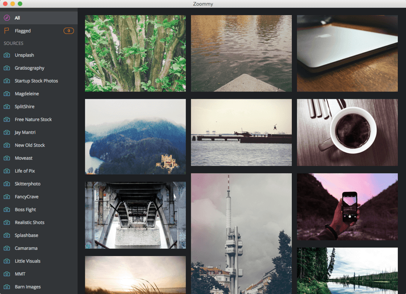 Screenshot Zoommy - Stockphoto-Site-Browser