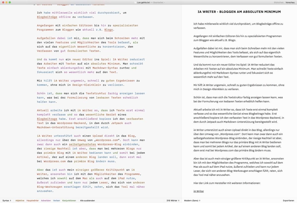 Screenshot iA Writer mit aktivierter Vorschau
