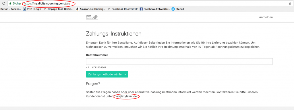 Screenshot - Bezahlseite mit interessanter Mailadresse